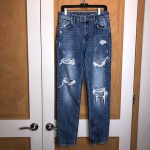 Zara Blue Distressed Denim Size 6